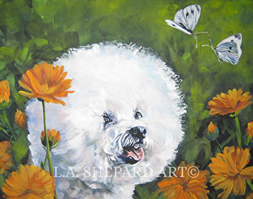 A Bichon Frise dog art portrait print of an LA Shepard painting 11x14