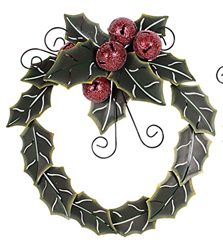 Metal Holiday Holly Leaves With Jingle Bells Christmas Wreath (19