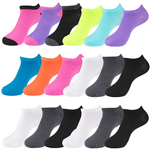 LADIES ASSORTED SOLID MIX 18PK NO-SHOW SOCKS