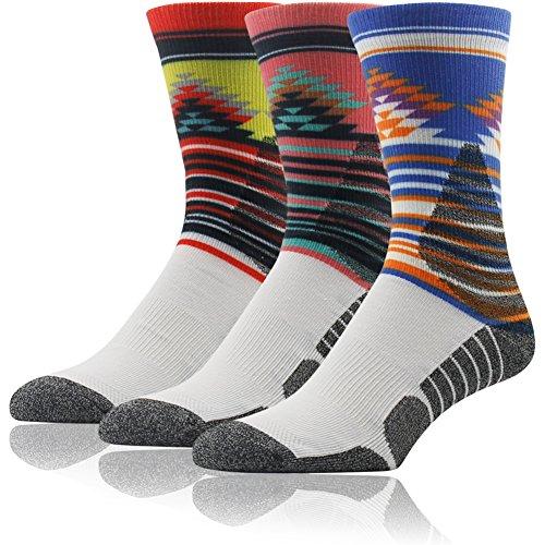 Huting Socks, 3street Unisex Digital Printed Diamond Striped Pattern Athletic Crew Socks for Basketball Running Dark Blue Lemon Yellow Pink 3 Pairs