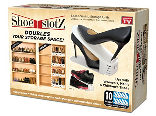Space-Saving Shoe Slotz Storage Units in Ivory | As Seen on TV | No Assembly Required | Limited Edition Price Club Value Pack, 10 Piece set