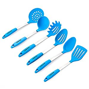 Landoom Silicone Kitchen Utensil Set, Cooking Spoons, Ladles, Turner(Set of 6) Stainless Steel X-Large 13.5 Inch - Light Blue