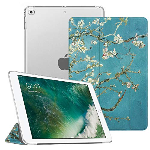 Fintie iPad 9.7 2018/2017, iPad Air 2, iPad Air Case - Lightweight Slim Shell Cover with Translucent Frosted Back Protector Supports Auto Wake/Sleep for iPad 6th / 5th Gen, iPad Air 1/2, Blossom
