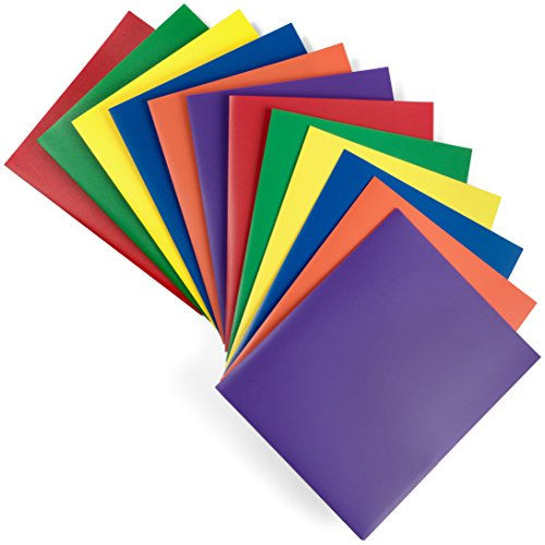 Hanging Accordion Folders Letter - 2 Pocket Folders - Heavy Duty Plastic Folders - Set of 12 Assorted Colors (Primary Colors) - Sturdy and Waterproof File Folders by DIY Crew