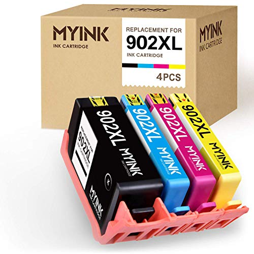 MYINK Remanufactured Ink Cartridge Replacement for HP 902XL 902 XL Upgraded Newest Chips (Black Cyan Magenta Yellow, 4-Pack) OfficeJet Pro 6968 6978 6958 6970 6960 6954 6962 Printer (Hp Officejet Pro 6960 Ink Cartridge Refill)