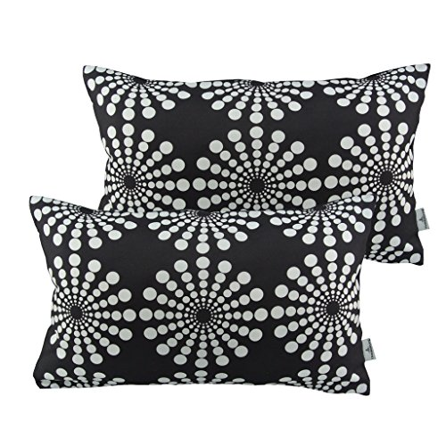 Thanksliving Polyester Decorative Floral Pattern Pillowcase Cushion Covers 20 x 15 Inch/ 50 35 Cm (Set of 2), Floral In White