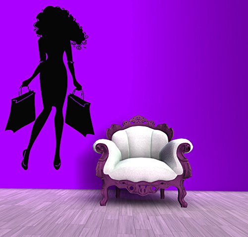Wall Decals Vinyl Decal Sticker Mural Interior Design Fashion Woman with Bags Shopping Time Beauty Shop Salon Girl Kids Baby Room - Shoping In Usa