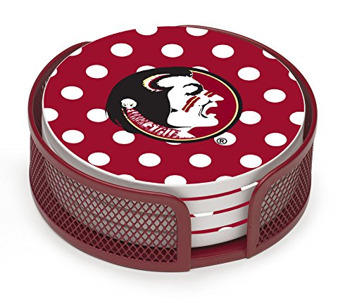 Thirstystone VFLSU2-HA22 Stoneware Drink Coaster Set with Holder, Florida State University (Dots Coasters)