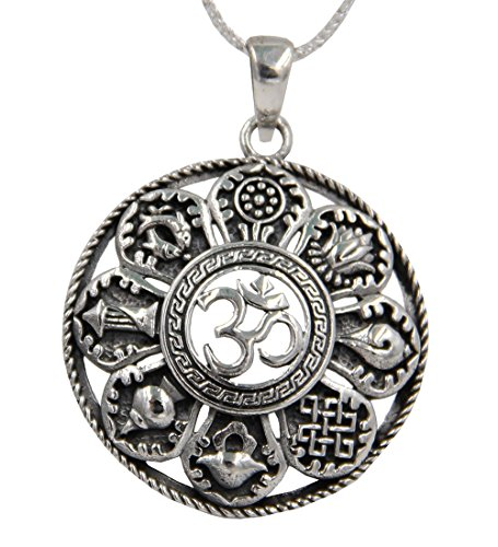 (DharmaObjects Stamped 92.5 Sterling Silver Tibetan Buddhist 8 Lucky Symbols OM Pendant Necklace Chain Set)