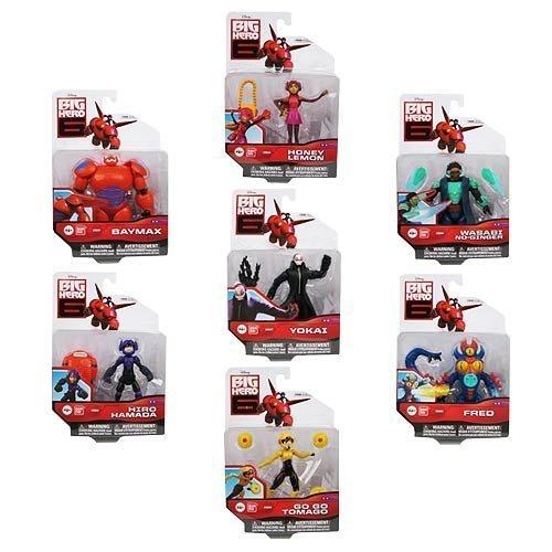 Big Hero 6 Action Figure Set - 7 Characters - Baymax, Yokai, Go Go Tomago, Honey Lemon, Wasabi No-Ginger, Fred, and Hiro Hamada! by Big Hero 6 (Bandai Go Go Tomago)