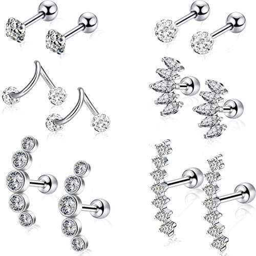 6 Pairs Ear Cartilage Earrings Helix Earrings Ear Piercing Jewelry Stainless Steel Ear Studs for Women Girls Gifts Makeup Favors (Color 1)