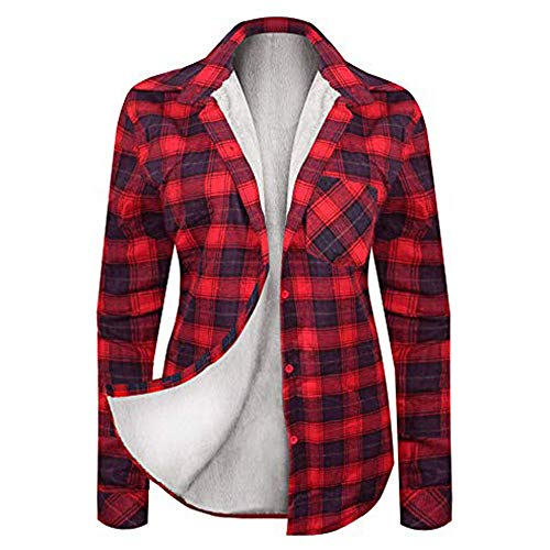 Women's Winter Flannel Plaid Button Down Top with Sherpa Fleece Lining Blouse Tops ()