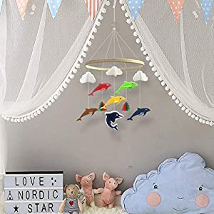 Baby Crib Mobile by KUDES, Pure Handmade Dolphin Nursery Decoration Crib Mobile for Boys and Girls