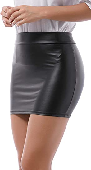Minigonna elasticizzata da donna effetto bagnato Verano
