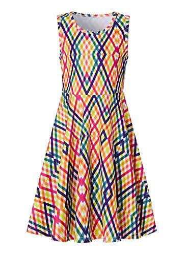 RAISEVERN Toddler Girl's Striped Dress Sleeveless Sundress Cute Crew Neck Colorful Rainbow Dresses Summer Holiday Beachwear for Child 4-5T