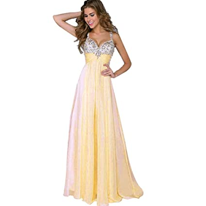 Besde Sleeveless Women Long Maxi Cocktail Party Ball Prom Gown Formal Dress (S, Beige