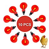 OUTFANDIA 10 Pack of Automatic Poultry Chicken Waterer Red Plastic Water Feeder Livestock Tool for Chicken Duck Bird quail Drinker Cups Bowls