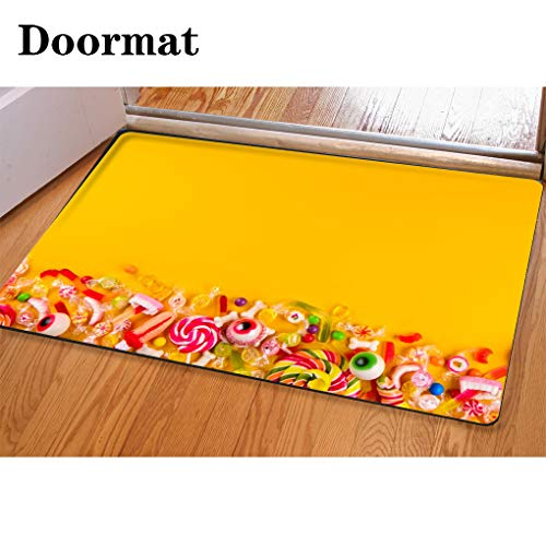 (3D Printing and Dyeing,Bathroom Carpet, Door mat,Multiple All Hallows eve Treats for Halloween Party on Colorful Background Flannel Foam Shower mat, Absorbent Kitchen Door)