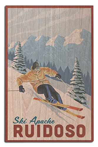 Ruidoso, New Mexico - Ski Apache - Downhill Skier (12x18 Wood Wall Sign, Wall Decor Ready to (Water Ski Wood Sign)