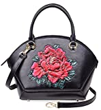 PIJUSHI Women Top Handle Satchel Handbags Floral Leather Tote Bag 33065(One Size, Black Floral)