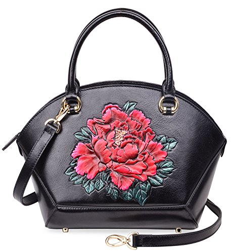 PIJUSHI Women Top Handle Satchel Handbags Floral Leather Tote Bag 33065(One Size, Black Floral) by PIJUSHI