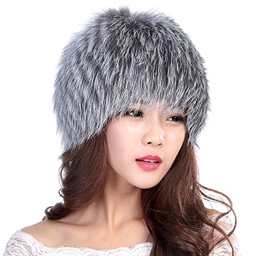 Womens Winter Hats Real Knitted Fox Fur Hat Strong Elasticity (Silver)