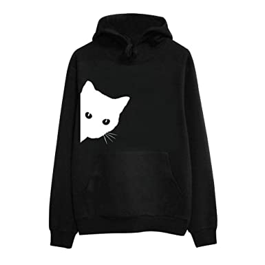 c70ce026f21 Staron Womens Long Sleeve Hooded Pullover Tops Cat Long Sleeve Sweatshirt