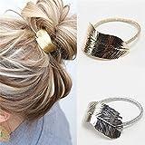 2Pcs Lady Leaf Hair Band Rope Headband Elastic Ponytail Holder