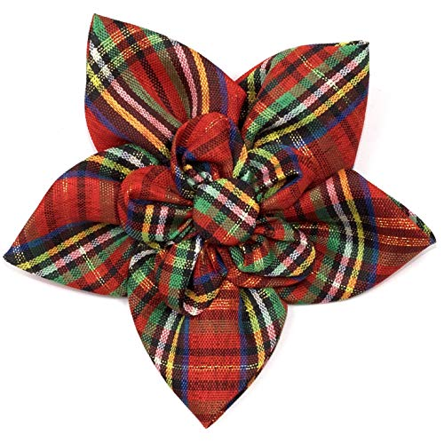 The Worthy Dog Red Lurex Plaid Pattern Flower for PetsRed, LG