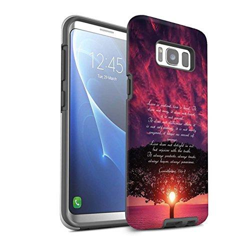 STUFF4 Matte Tough Shock Proof Phone Case for Samsung Galaxy S8/G950 / Love is Patient/Corinthians Design/Christian Bible Verse - Cross Patient