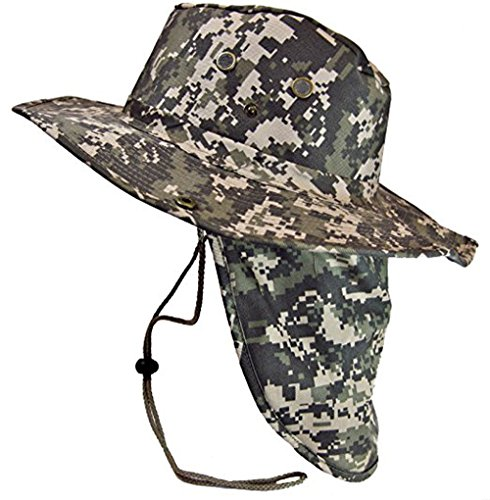 Military Camouflage Boonie Bush Safari Outdoor Fishing Hiking Hunting  Boating Snap Brim Hat Sun Cap with Neck Flap - Buy Online in KSA. 5623eb2a1419