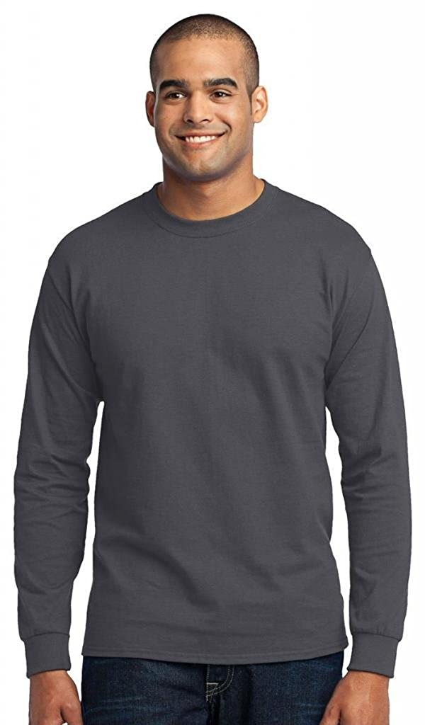 Port /& Company Tall Long Sleeve 50//50 Cotton//Poly T-Shirt3XLT Athletic Heather