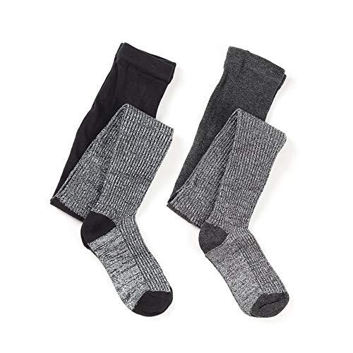 Kids Girls Cotton Knit Lurex Sparkle Tight (Rib lurex Black Charcoal, 13-14y Height 62
