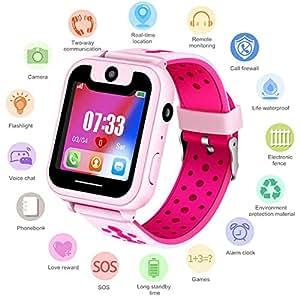 Niños Smartwatch - Reloj de Pulsera Inteligente con ubicación GPS/LBS Reloj Despertador SOS Reloj Digital Cámara Linterna Juegos para niños compatibles con ...