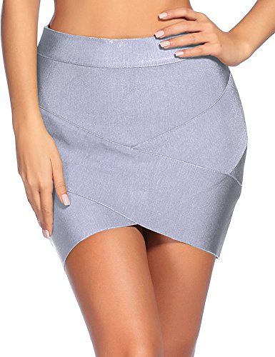 iFashion Women's Sexy Rayon Bandage Bodycon Party Mini Skirt Small Grey