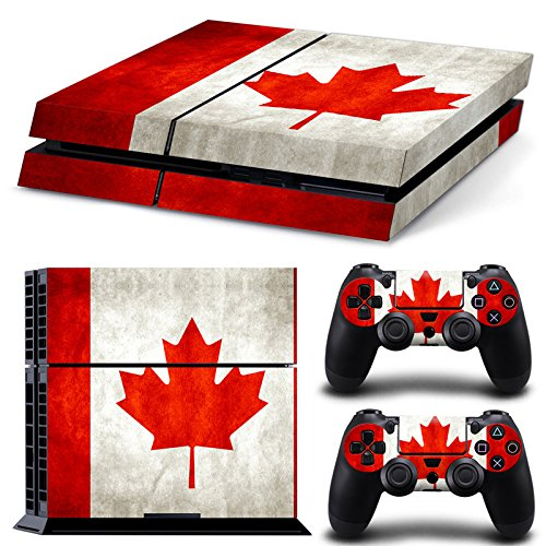 Protective Vinyl Skin Decal Cover for Sony PlayStation 4 PS4 Console & Remote DualShock 4 Controller Sticker Skins --- Canada Flag - Card Gift Online Canada