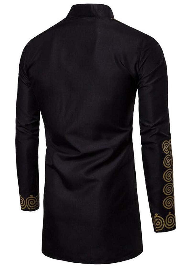 XTX Men Dashiki African Print Irregular Stand Collar Stylish Long Shirts