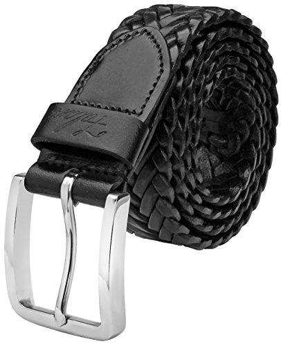 Falari Men's Braided Belt Leather 35mm Black L 38-40 9006 (Braid Leather Belt)
