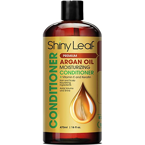 Shiny Leaf Argan Oil Moisturizing Conditioner – Anti Hair Loss Treatment - Rejuvenates and Treats Damaged Hair, Adds Volume and Shine, 16 oz (473 ml)