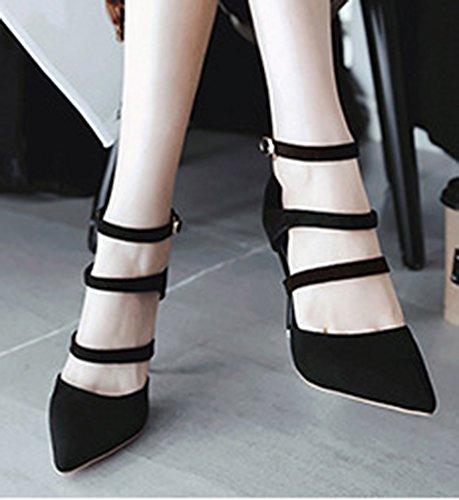 Pumps Strap Gladiator Suede Aisun Court Faux Classic Black Shoes Women's Ankle Iqwf00CBx