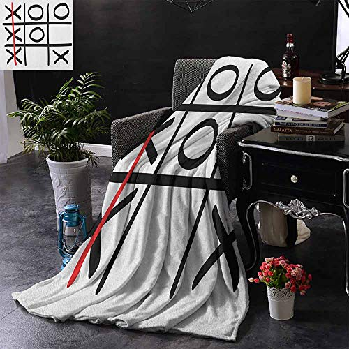 """ZSUO Warm Baby Wrapped Crib Blanket Popular Tic Tac Toe Game Pattern Hand Drawn Design Win Victory Finish Theme Warm Blanket for Autumn Winter 60""""x70"""" Inch"""