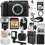 Panasonic Lumix DMC-GX8 4K Wi-Fi Digital Camera Body (Black) with 64GB Card + Battery & Charger + Backpack + Strap + Flash + LED Light + Tripod + Kit
