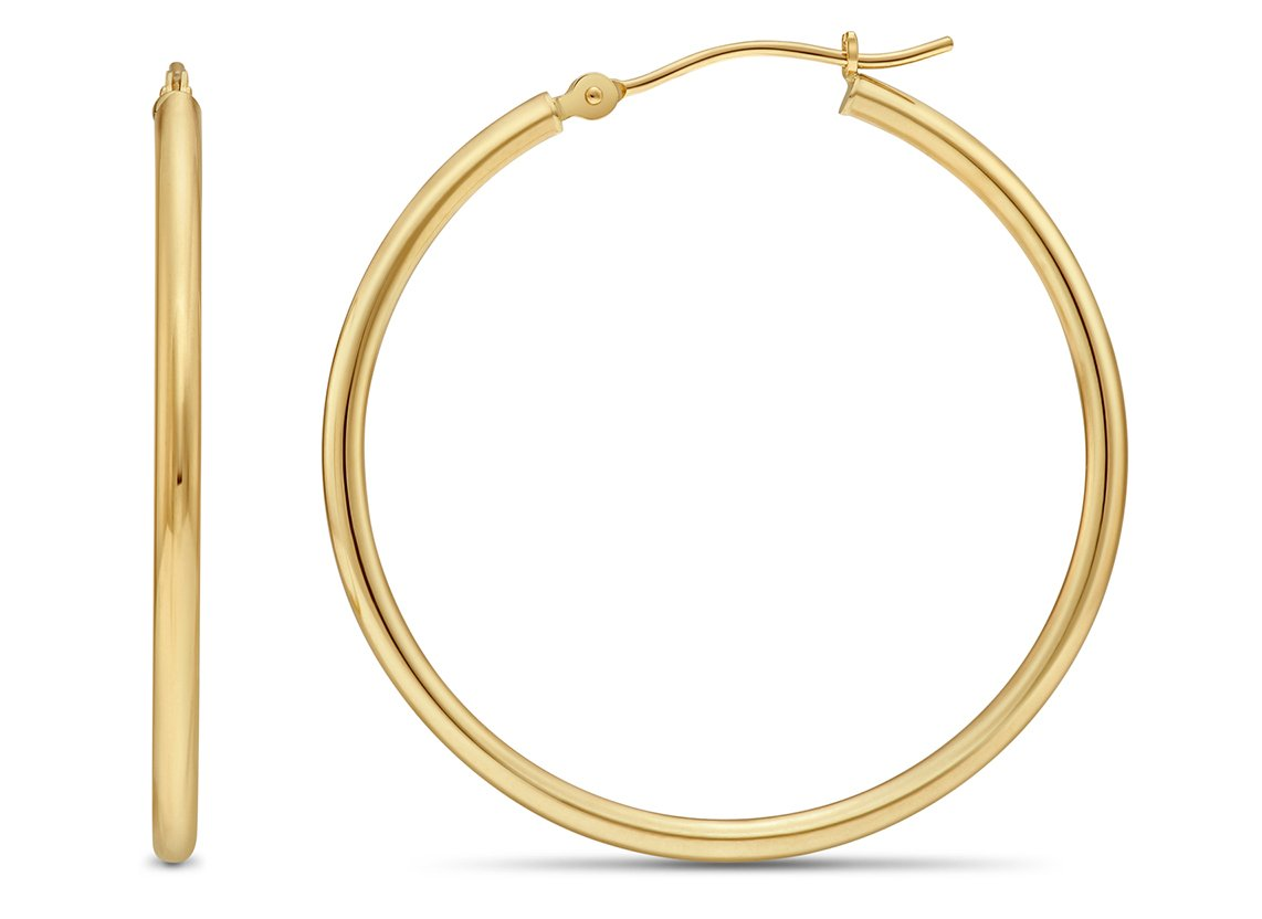 14k Yellow Gold 2mm Tube Polished Round Hoop Earrings, 35mm (1.4 inch Diameter)