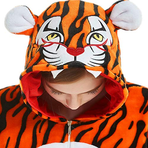 iSZEYU Tiger Onesie Costumes Adult Pajamas Men Animal Onsie Pj Cosplay XL ()