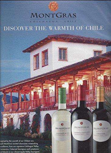 MAGAZINE AD For 2013 Montgras Reserva Wines: Discover The Warmth Of Chile