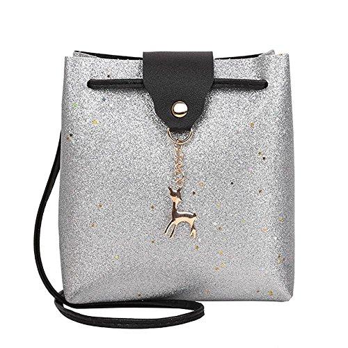 La Cabina Brillant Sacs à Bandoulière en Cuir PU pour Femme Paillette Sac Portés épaule Crossbody Bag pour Fille Argent