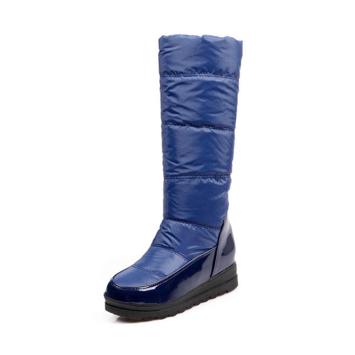 DANDANJIE Damen Winterstiefel Warme Wasserdichte Schneeschuhe Mittlere Wade Rutschfeste atmungsaktive Schuhe Blau 36EU