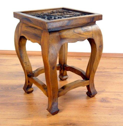 Opiumtische in braun 36 x 36 x 50cm (hoch), Beistelltisch bzw. Couchtisch aus Massivholz. Kolonialstil, asiatisches Möbelstück, Altartisch mit Schnitzerei
