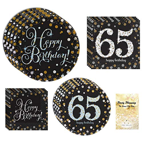 65th Birthday Party Supplies, Black and Gold, Disposable Partyware,  16 Guests, Sparkling Celebration Design, Bundle of 4 Items: Dinner Plates, Dessert Plates, Lunch Napkins and Beverage Napkins ()