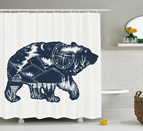 Tattoos Bears (Ambesonne Cabin Decor Shower Curtain by, Bear Double Exposure Tattoo Art Image Great Outdoors Mountains Compass, Fabric Bathroom Decor Set with Hooks, 70 Inches, Dark Blue White)